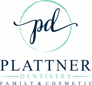 Plattner Family and Cosmetic Dentistry logo with the initials p and d above the words
